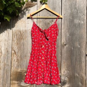 Band of Gypsies red floral front knot boho dress S